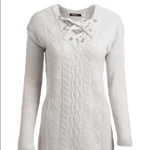 Devoted by Dex Gray Lace-Up Collar Sweater
